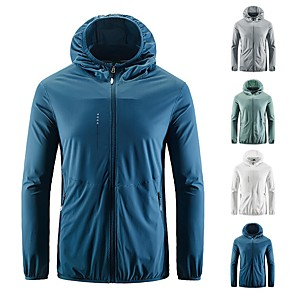 cheap Softshell, Fleece & Hiking Jackets-Men's Windbreaker Rain Jacket Running Skin Jacket Long Sleeve Elastane UV Sun Protection Quick Dry Water Resistant Performance Running Training Sportswear Top White Blue Green Gray Activewear