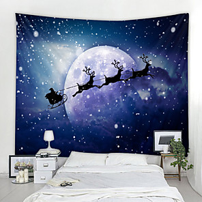 cheap Wall Tapestries-Christmas Santa Claus Wall Tapestry Art Decor Blanket Curtain Picnic Tablecloth Hanging Home Bedroom Living Room Dorm Decoration Snow Elk Moon Night Sky Polyester