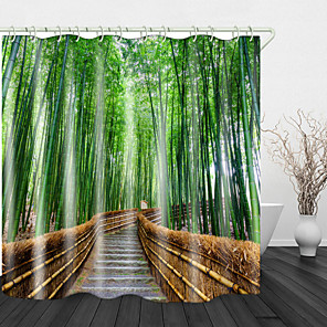cheap Shower Curtains-Bamboo Forest Trail Shower Curtains & Hooks Modern Polyester New Design