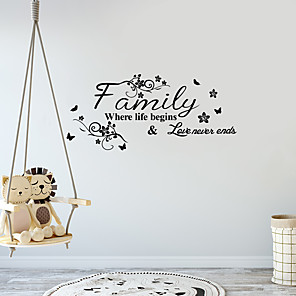 cheap Wall Stickers-Letter Wall Stickers Decorative Wall Stickers, PVC Home Decoration Wall Decal Wall Decoration / Removable