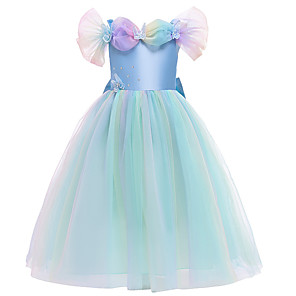 cheap Movie & TV Theme Costumes-Cinderella Dress Girls' Movie Cosplay Halloween Christmas Blue Dress Christmas Halloween Masquerade Polyester / Cotton