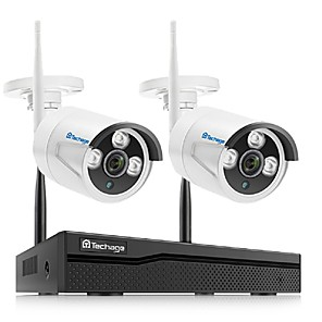 cheap Outdoor IP Network Cameras-Techage Wireless NVR 8CH CCTV System 1080P Indoor Outdoor Security Camera System With 2P 1080P WiFi Cameras IP66 Waterproof With Audio Mobile&PC Remote Night Vision H.265+