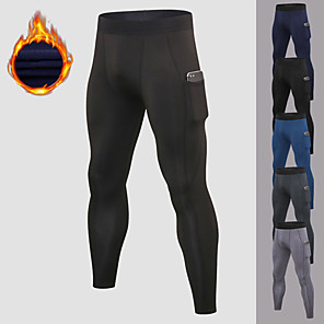 cheap Running & Jogging Clothing-YUERLIAN Men's Running Tights Leggings Compression Pants Athletic Base Layer Bottoms with Phone Pocket Fleece Spandex Fitness Gym Workout Performance Running Training Breathable Quick Dry Moisture