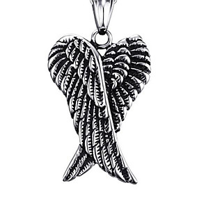 cheap Pendant Necklaces-Men's Pendant Necklace Classic Angel Wings Fashion Stainless Steel Silver 50 cm Necklace Jewelry 1pc For Anniversary Street