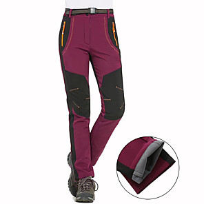 cheap Hiking Trousers & Shorts-Women's Hiking Pants Softshell Pants Patchwork Winter Outdoor Waterproof Windproof Breathable Warm Pants / Trousers Bottoms Army Green Burgundy Orange Hunting Fishing Camping / Hiking / Caving S M L