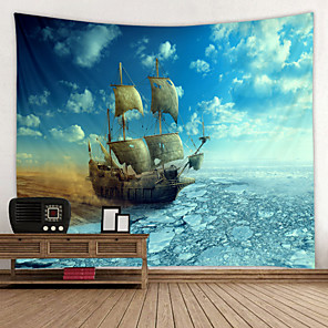 cheap Wall Tapestries-Old Wooden Boat by the sea Digital Printed Tapestry Decor Wall Art Tablecloths Bedspread Picnic Blanket Beach Throw Tapestries Colorful Bedroom Hall Dorm Living Room Hanging