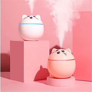 cheap Humidifiers-300ML Mini Cute Pet Air Humidifier Aroma Essential Oil Diffuser Portable With Colorful Night Light Two Spray For Home Car