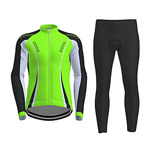 cheap Running & Jogging Clothing-21Grams Men's Long Sleeve Cycling Jersey with Tights Winter Polyester Black / Yellow Red Fuchsia Novelty Bike Jersey Tights Clothing Suit Breathable Quick Dry Moisture Wicking Back Pocket Sports