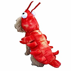 cheap Dog Clothes-Cat Dog Halloween Costumes Costume Christmas Lobster Cartoon Plus Size Cosplay Party Halloween Winter Dog Clothes Lobster outfit Costume Poly / Cotton XS S M L XL XXL