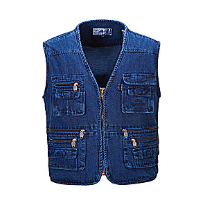 cheap Softshell, Fleece & Hiking Jackets-Men's Vest / Gilet Windproof Breathability Heat Retaining Fishing Daily Wear / Denim
