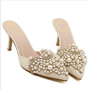 ieftine Sandale de Damă-Pentru femei Sandale Toc Mic Vârf ascuțit Casual Dulce Zilnic Piatră Semiprețioasă Perle Imitație Piele Migdală / Roz