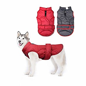 cheap Dog Collars, Harnesses & Leashes-dog down coat waterproof windproof reversible dog winter coat lightweight warm dog jacket reflective dog vest coat apparel cold weather dog clothes for small medium large dogs red-m