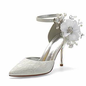 cheap Wedding Shoes-Women's Wedding Shoes Stiletto Heel Pointed Toe Sexy Minimalism Roman Shoes Wedding Party & Evening Rhinestone Imitation Pearl Flower Solid Colored Lace White / Ivory
