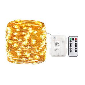 tanie Taśmy świetlne LED-Minetom Fairy Lights strip 5m 50 wodoodpornych świateł świetlików led z 8-funkcyjnym wodoodpornym pojemnikiem na baterie i 13-klawiszowym kontrolerem podczerwieni w zestawie gwiaździste lampki na
