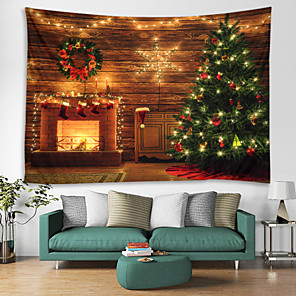 cheap Wall Tapestries-Christmas Santa Claus Wall Tapestry Art Decor Blanket Curtain Picnic Tablecloth Hanging Home Bedroom Living Room Dorm Decoration Christmas Tree Fireplace Star Light Polyester