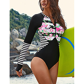 cheap Water Shoes & Socks-Women's One Piece Swimsuit Striped Padded Swimwear Swimwear Black Red Ultra Light (UL) Reduces Chafing Comfortable Long Sleeve - Swimming Water Sports Summer / Stretchy / Floral / Floral / Botanical