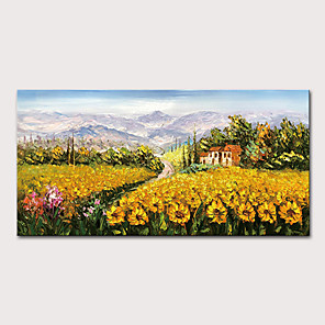 cheap Abstract Paintings-Mintura Hand Painted Knife Sunflower Landscape Oil Paintings on Canvas Modern Abstract Wall Picture Art Posters For Home Decoration Ready To Hang With Stretched Frame