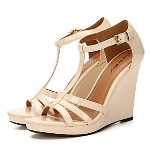 cheap Women's Heels-Women's Heels Wedge Heel Peep Toe Classic Basic Daily Solid Colored PU Walking Shoes Pink / White / Dark Red / Black