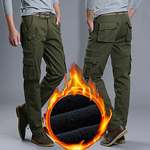 cheap Hiking Trousers & Shorts-Men's Hiking Pants Hiking Cargo Pants Solid Color Winter Outdoor Loose Portable Breathable Warm Soft Cotton Pants / Trousers Bottoms Black Army Green Khaki Hunting Fishing Climbing 28 29 30 31 32