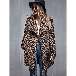 cheap Necklaces-Women's Teddy Coat Long Leopard Print Daily Basic Khaki S M L / Fall / Winter / Going out