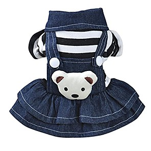 cheap Dog Clothes-puppy cool jeans dress, girl dog classic ruffles dresses jeans clothes