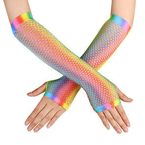 cheap Costumes Jewelry-Gloves Fishnet Tights Fingertips Satin For Mermaid Tail Cosplay Halloween Carnival Women's Costume Jewelry Fashion Jewelry