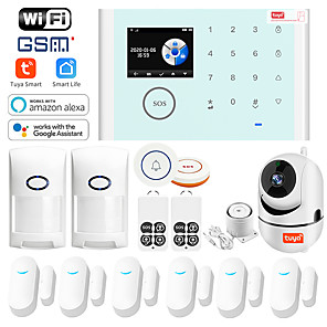 cheap Burglar Alarm Systems-CS118 Alarm System TUYA Wifi GSM GPRS Multilingual ligent Voice Home Alarm System Set With IP Camera(15Pcs)