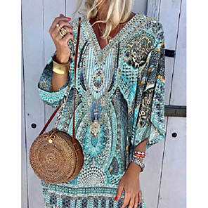 cheap Women's Sandals-Women's Shift Dress Knee Length Dress - 3/4 Length Sleeve Tribal Print Summer V Neck Boho Holiday Beach 2020 Blue S M L XL XXL XXXL