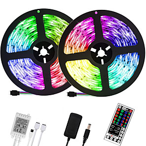 cheap LED Strip Lights-32.8ft 10M LED Light Strips RGB Tiktok Lights 600LEDs Flexible Color Change SMD 2835 with 44 Keys IR Remote Controller and 100-240V Power Supply for Home Bedroom Kitchen TV Back Lights DIY Deco