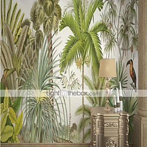 cheap Wallpaper-Custom Self Adhesive Mural Wallpaper Tropical Rainforest Leaves For Bedroom Living Room Cafe Restaurant Hotel Wall Decoration Art  Wall Cloth Room Wallcovering