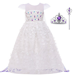 cheap Movie & TV Theme Costumes-Frozen Dress Cosplay Costume Girls' Movie Cosplay Halloween White Dress Wand Halloween New Year Polyester / Cotton Polyester