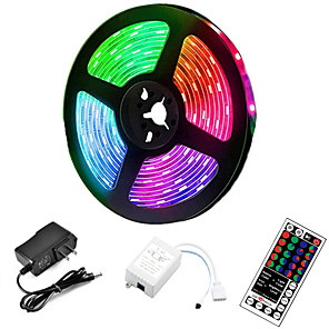 cheap LED Strip Lights-5m LED Strip Lights RGB Tiktok Lights 300 LED 2835 SMD RGB Tape Lights Light Sets Self Adhesive Multicolor for Room Kitchen TV Festival Illumination with Remote 12V