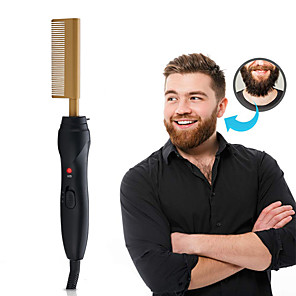 cheap Movie & TV Theme Costumes-Hot Comb Hair Straightener - Electric Straightening Comb for African American Hair and Wigs - Technology Hair Straightener for Wet and Dry Hair - Quick Heated Comb for Men Long Beard