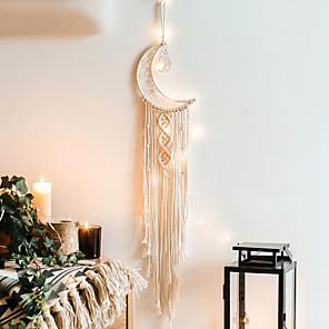 cheap Dreamcatcher-Macrame Wall Gift Hanging Bohemian Handmade Woven Art Decor Home Living Room Dorm Decoration Dreamcatcher creative moon pendant home wall hanging