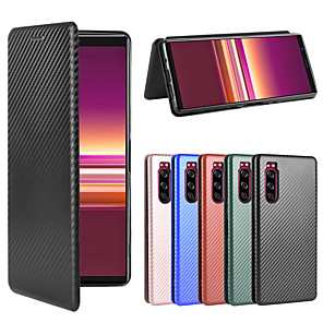 cheap Other Phone Case-Case For SonyXperia 1 Xperia 1II Xperia 10 Xperia 10II Xperia 10 Plus Xperia XZ3 Xperia L4 Xperia 5  Wallet Shockproof Magnetic Full Body Cases Solid Colored Carbon Fiber TPU