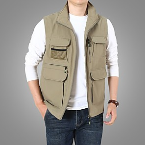 cheap Softshell, Fleece & Hiking Jackets-Men's Vest Regular Solid Colored Daily Basic Sleeveless Army Green Khaki Navy Blue M XL XXXL