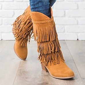 cheap Women's Sandals-Women's Boots Cowboy Western Boots Wedge Heel Round Toe Casual Daily Tassel Solid Colored Nubuck Mid-Calf Boots Walking Shoes Dark Brown / Black