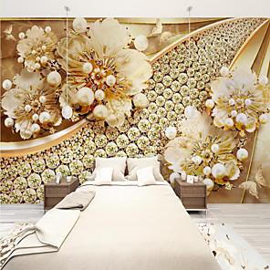 cheap Wallpaper-Custom Self Adhesive Mural Wallpaper Gold Flower Art Suitable For Bedroom Living Room Coffee Shop Restaurant Hotel Wall Decoration Art  Landscape Home Decoration Modern