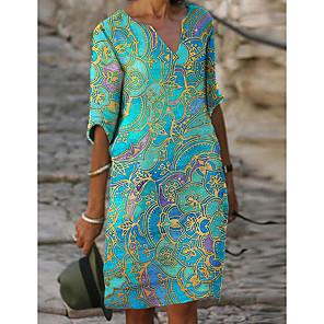 cheap Softshell, Fleece & Hiking Jackets-Women's Shift Dress Knee Length Dress - Half Sleeve Tribal Print Fall V Neck Casual Daily Loose 2020 Green S M L XL XXL XXXL