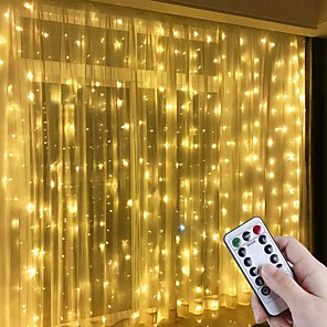 cheap LED String Lights-LED Window Curtain String Lights 3x3m 300LED 8 Lighting Modes Christmas Fairy Lights Home Décor Lights for Christmas Bedroom Party Garden Wedding