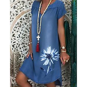 cheap Wall Stickers-Women's Denim Dress Knee Length Dress - Short Sleeve Floral Print Summer V Neck Casual 2020 White Navy Blue M L XL XXL XXXL