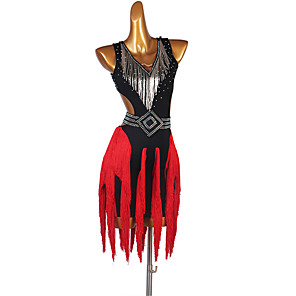 cheap Latin Dancewear-Latin Dance Dress Tassel Crystals / Rhinestones Women's Performance Sleeveless Spandex