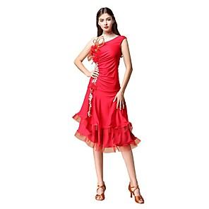 cheap Latin Dancewear-Latin Dance Dress Bow(s) Ruffles Appliques Women's Training Performance Sleeveless Natural Nylon