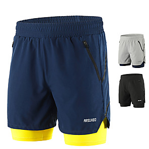 cheap Running & Jogging Clothing-Arsuxeo Men's Running Shorts Running Shorts With Tights Shorts Bottoms 2 in 1 Liner Split Spandex Gym Workout Running Active Training Jogging Trail Breathable Quick Dry Reflective Strips Sport Black