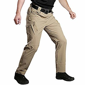 cheap Hiking Trousers & Shorts-men's outdoor quick dry military tactical pants summer lightweight cargo pants with multiple-pockets khaki 36