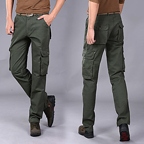 cheap Hiking Trousers & Shorts-Men's Hiking Pants Hiking Cargo Pants Solid Color Winter Outdoor Loose Breathable Warm Comfortable Anti-tear Cotton Pants / Trousers Bottoms Black Army Green Khaki Camping / Hiking Hunting Fishing 28