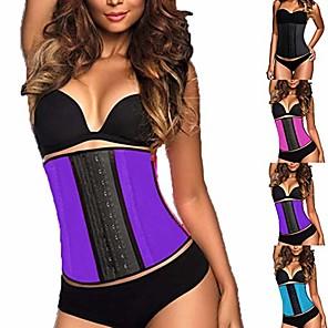 cheap Fitness Gear & Accessories-women waist trainer 14-breasted tummy control belt weight loss body shaper purple