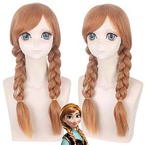 cheap Movie & TV Theme Costumes-Cosplay Costume Wig Cosplay Wig Anna Frozen II Plaited Braid With 2 Ponytails Wig Long Brown Synthetic Hair 20 inch Women's Anime Fashionable Design Cosplay Brown / Doll Wig