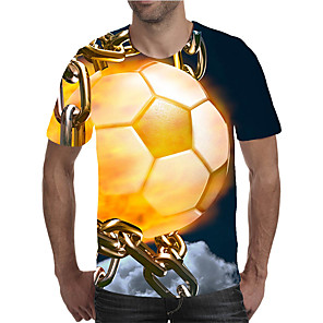 cheap LED String Lights-Men's Plus Size T-shirt Graphic Print Short Sleeve Tops Elegant Exaggerated Round Neck Yellow