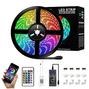 cheap LED Strip Lights-5m Bluetooth LED Light Strips RGB Tiktok Lights Set Flexible 300 LEDs SMD5050 10mm 1 24Keys Remote Controller 1 X 12V 5A Power Supply 1 set Color-changing IP65 Waterproof APP Control